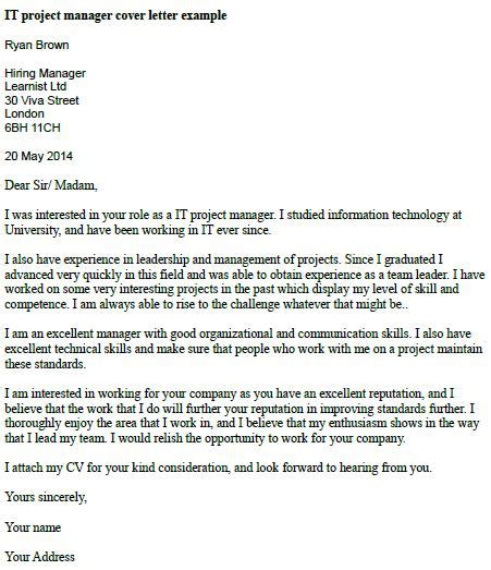 Cover Letter For Project Assistant Position It Project Manager Cover Letter Exle Learnist Org