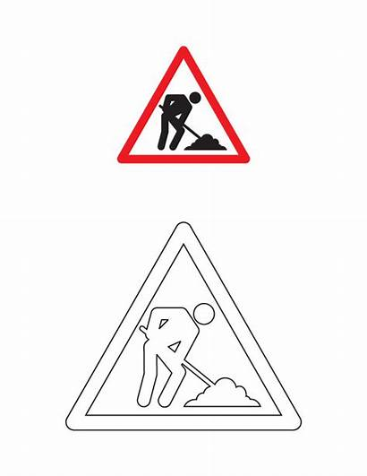 Coloring Road Traffic Sign Pages Signs Colouring