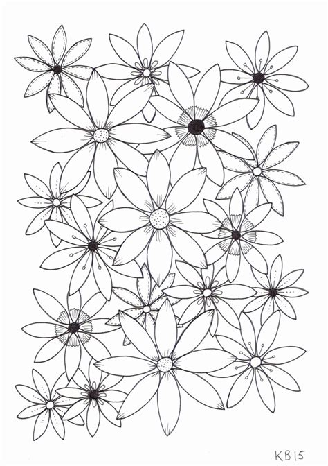 Adult colouring page Flowers 4