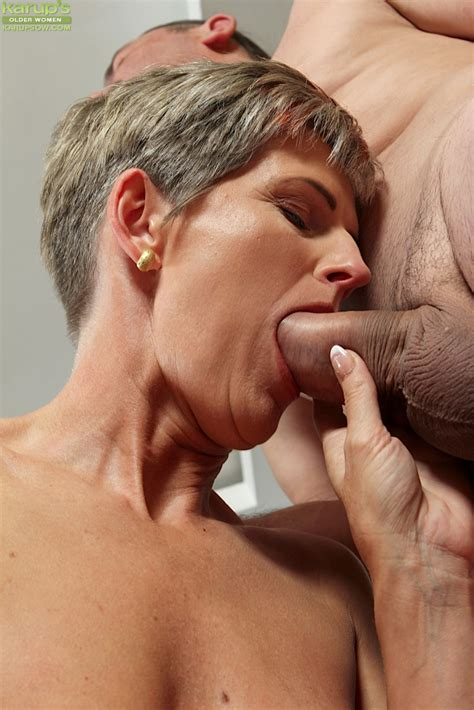 Grey Haired Mature Woman Melanie Giving Oral Sex For