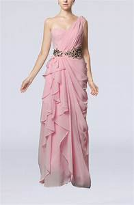 Baby pink romantic one shoulder sleeveless floor length for Romantic dresses for wedding guests