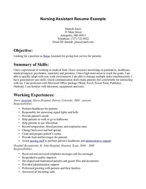 Resume Template For Nursing Assistant by Objective For Nursing Assistant Resume Resume Nursing