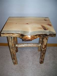 hand crafted log end table and coffee table by beach home With homemade beach furniture