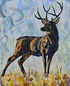 Deer Painting Buck Antlers White-tailed | Abstract ...