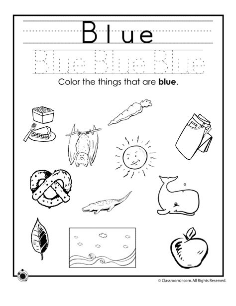 learning colors worksheets for preschoolers woo jr 771 | blue colors