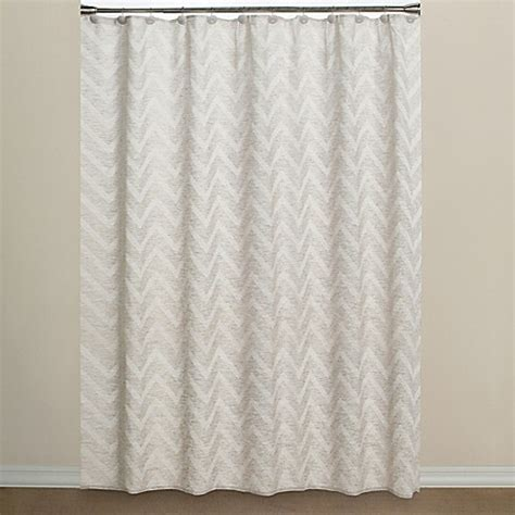 Chevron Fabric Shower Curtain in Neutral   Bed Bath & Beyond