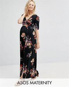 Asos maternity asos maternity maxi dress with wrap front for Robe fleurie asos