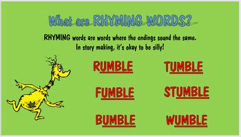 dr seuss and rhyming power point by ama lessons tpt
