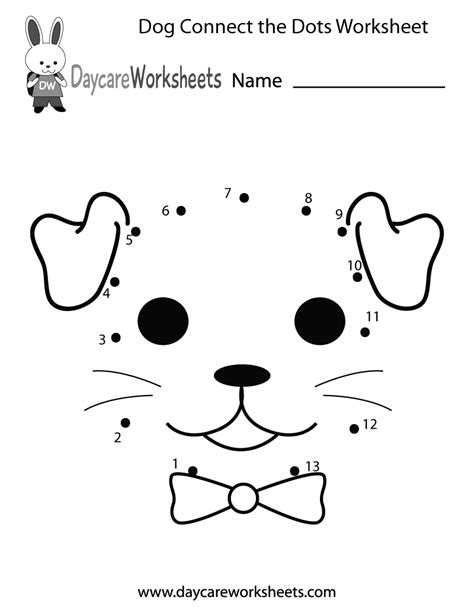 preschool dog connect  dots worksheet