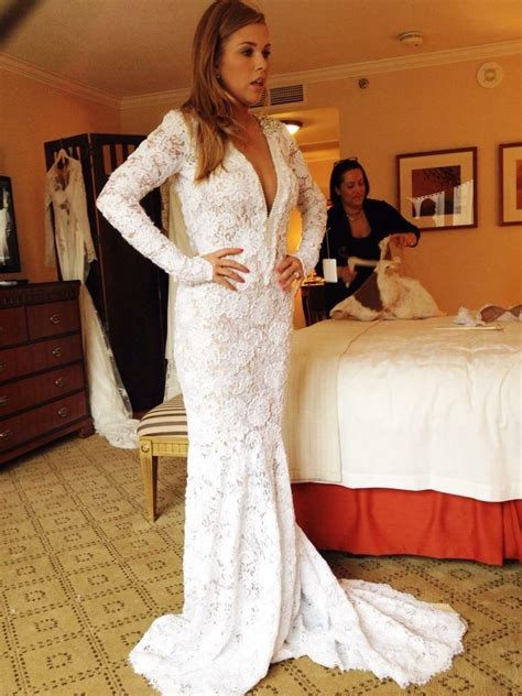 Berta Bridal White Lace Long Sleeve Gown With Pearls