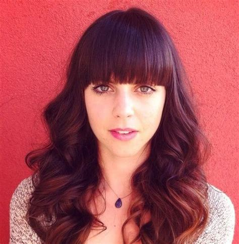 best straight bangs with curly hair