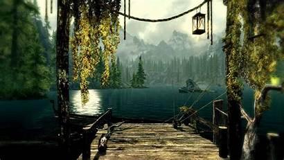 Dock Skyrim Fantasy Wallpapers Cool Ilinalta Lake