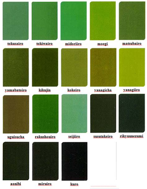 green colors names japanese colour names seasonal combinations