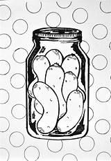 Pickle Coloring Jar Printables Pickles sketch template