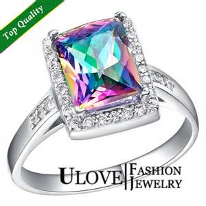 colored engagement rings 925 sterling silver simulated multi color rainbow jewelry engagement