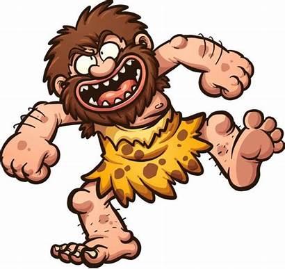 Caveman Cartoon Clip Laughing Happy Vector Illustration