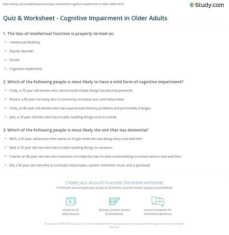 quiz worksheet cognitive impairment  older adults