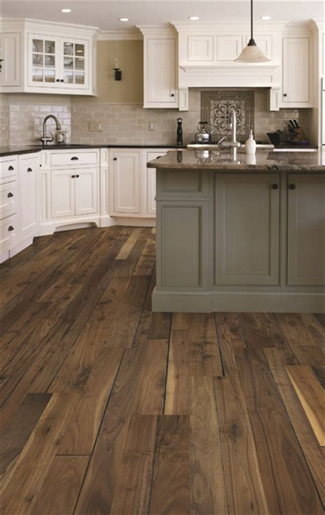 Traditional Kitchen With Walnut Wood Floors  Traditional