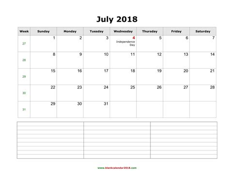 blank calendar  july
