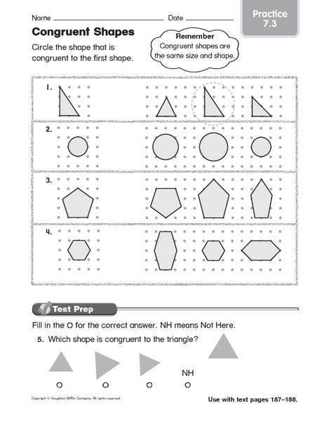 Free Congruent Shapes Worksheets 3rd Grade  3rd Grade Geometry Worksheets Free Printables Page