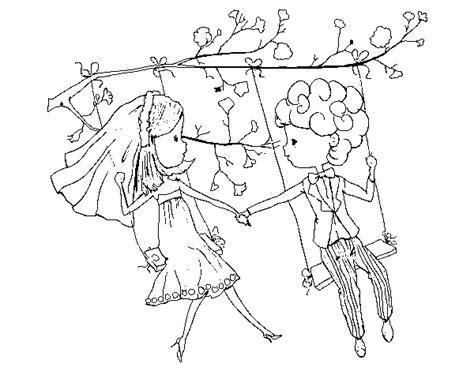 disegni da colorare su disegno di sposato su un altalena da colorare acolore