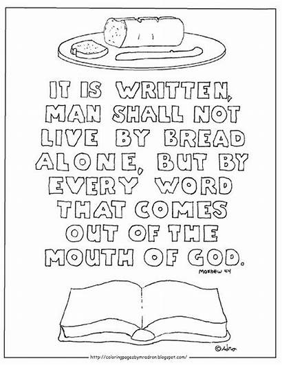 Matthew Coloring Bread Alone Shall Printable Bible