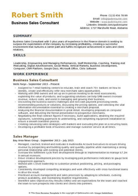 Career Achievements In Resume by Business Sales Consultant Resume Sles Qwikresume