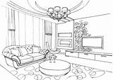 Coloring Living Room Pages Printable Ornament Interior sketch template