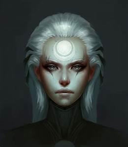 women Moon League of Legends artwork white hair colors ...