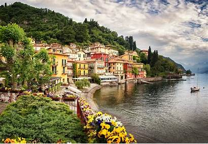 Flowers Water Lake Mountain Landscape Italy Forest