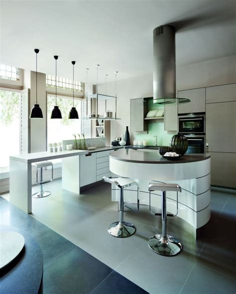 cuisine avec bar arrondi modele cuisine avec ilot bar kirafes