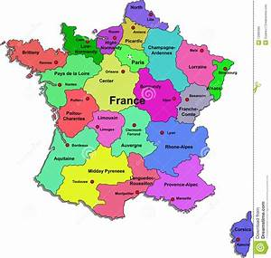 France Map On A White Background Stock Photo