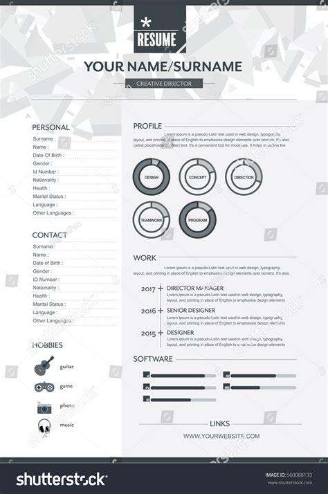 Resume Brochure Design by Vector Resume Template Cv Brochure Layoutmagazine Stock
