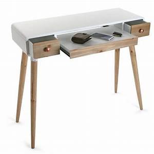 elegant table bureau console avec tiroirs design scandinave bois et bois blanc versa treveris with bureau design bois - Console Bureau Design