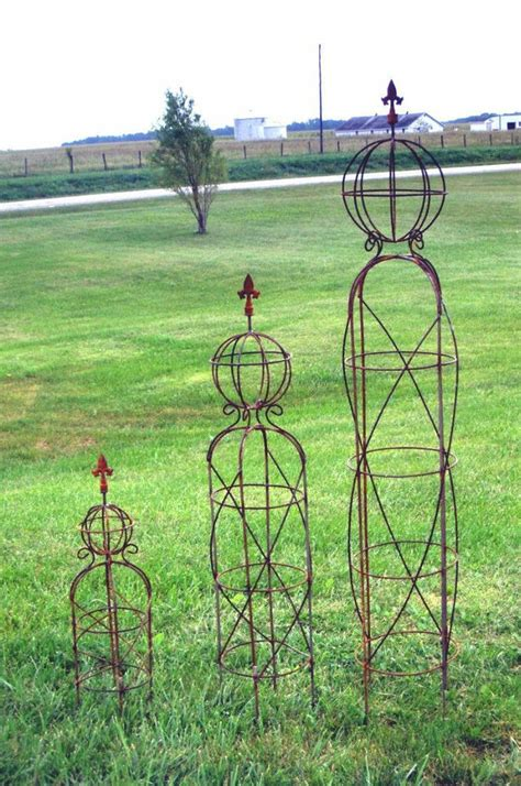 "44"" Small Wrought Iron Sphere And Finial Obelisk Trellis"