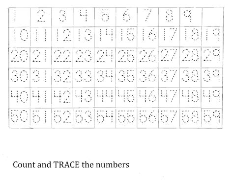 tracing numbers 1 50 worksheets 1 50 number charts to print activity shelter