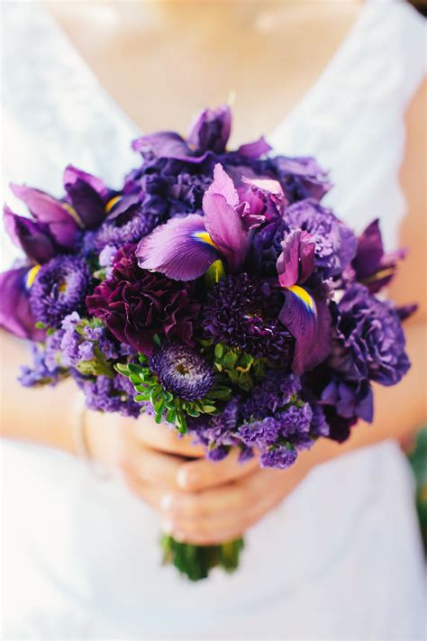 Purple Bridal Bouquet With Iris Aster Carnations