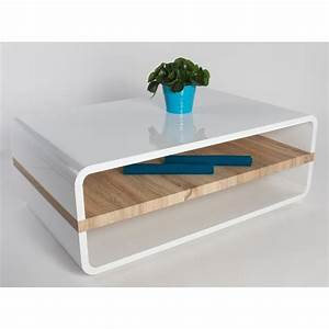 Table Basse Blanche Design : table basse design blanche laqu e et plateau en bois de ~ Preciouscoupons.com Idées de Décoration