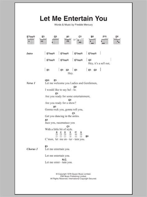 entertain  sheet   queen lyrics chords