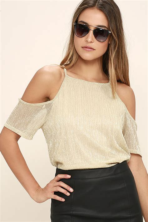 jumpsuits and rompers gold top the shoulder top sleeve top