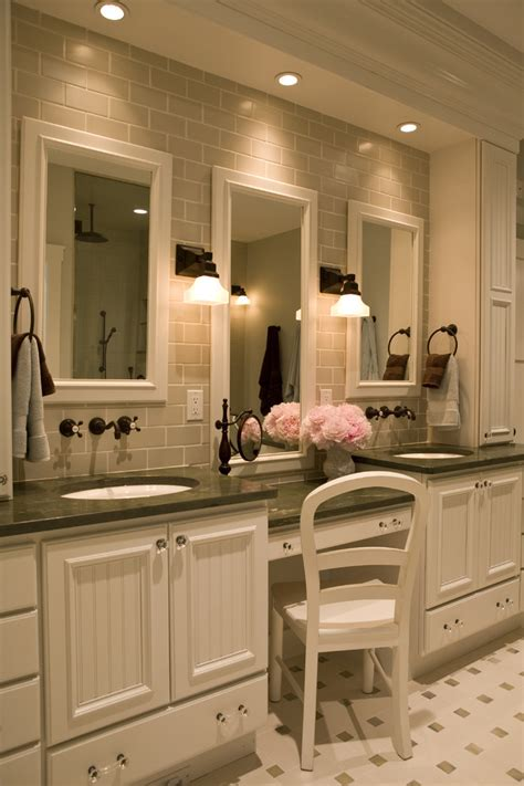 bathroom vanities  makeup area bathroom traditional