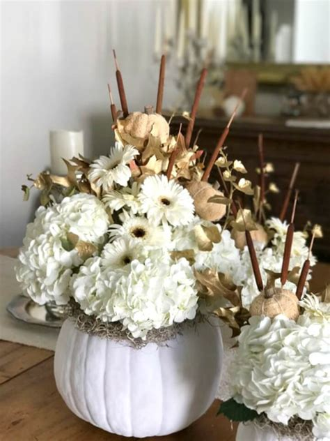 white pumpkin floral arrangements