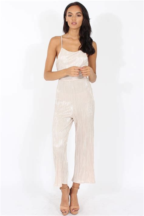 Cropped Jumpsuit chagne metallic pleated cropped jumpsuit arabella