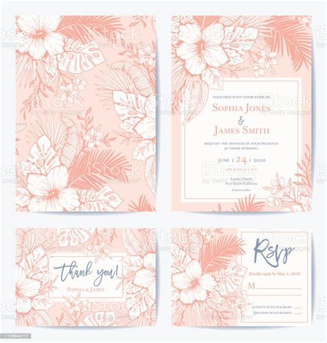Vector Retro Floral Exotic Tropical Wedding Invitation