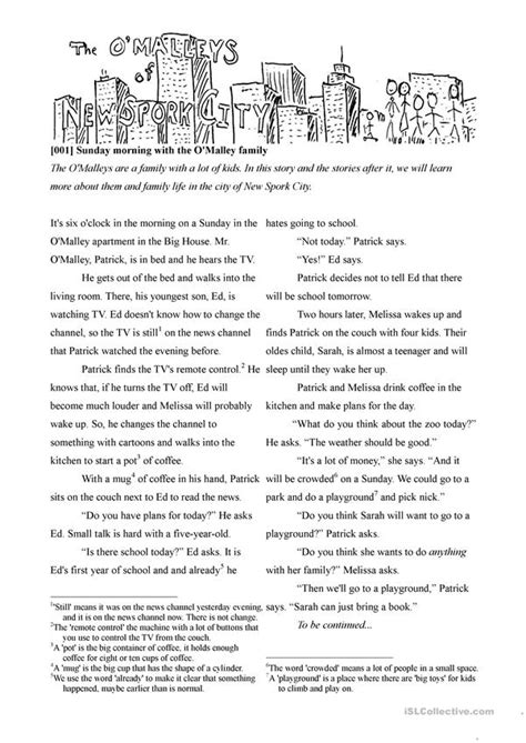 O'malley 001  Sunday Morning Worksheet  Free Esl Printable Worksheets Made By Teachers