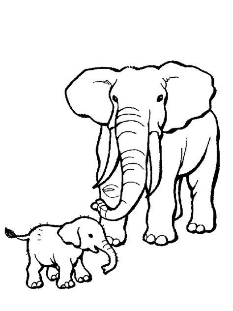 elefante mamma  elefante piccolo disegno da colorare