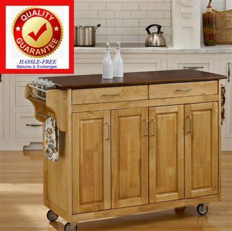 Rolling Kitchen Island / Cart Natural Finish Solid