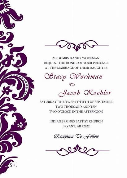 Invitation Invitations Purple Cards Templates Simple Invite