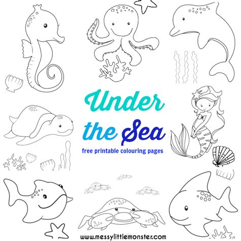 sea colouring pages  messy  monster
