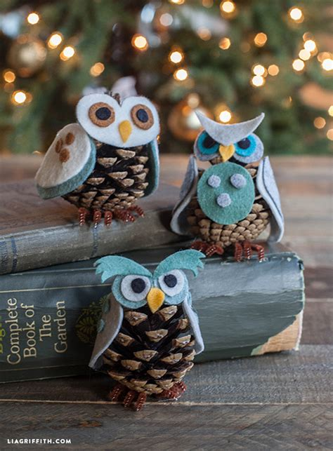 pine cone owl ornaments how to make felt and pinecone owl diy crafts handimania